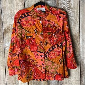 Chicos Red Paisley Colarless Button Down Abalone L